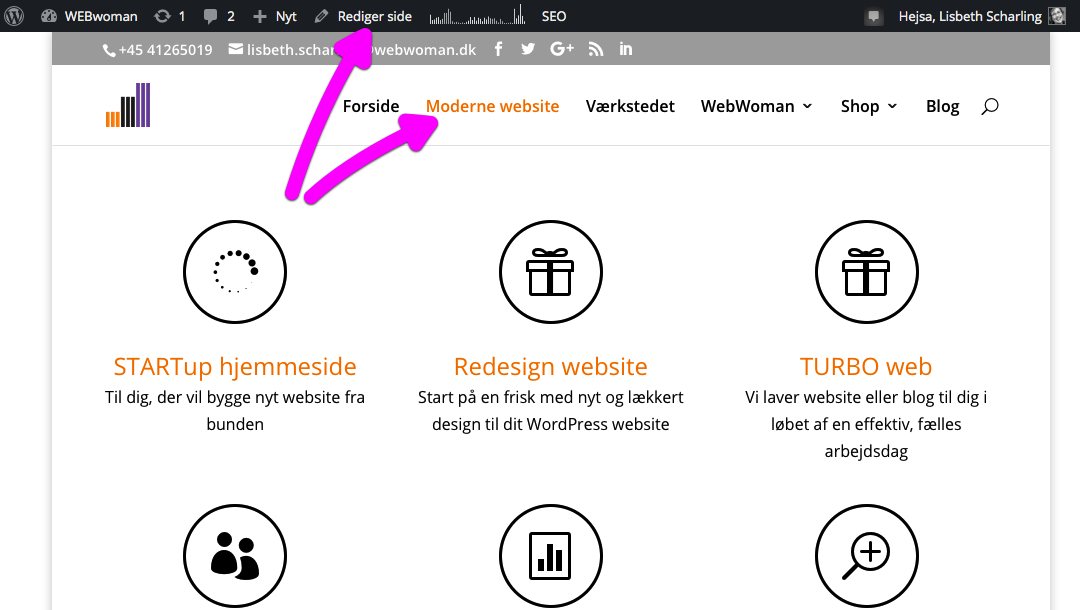 Hurtig genvej til at redigere side i WordPress
